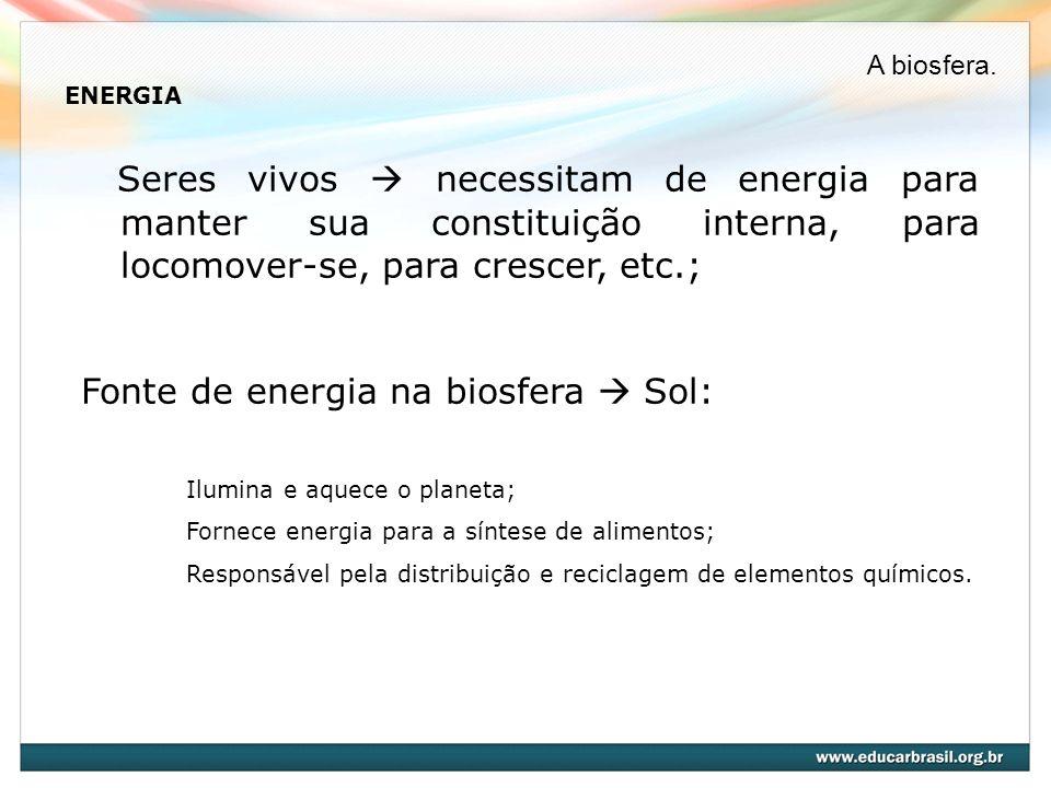 ENERGIA Seres vivos necessitam de energia para manter sua constituição interna, para locomover-se, para crescer, etc.; Fonte de energia na biosfera So