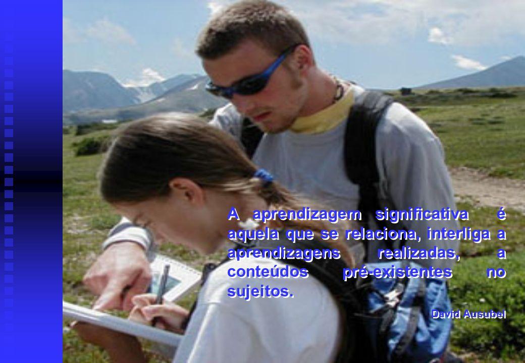 A aprendizagem significativa é aquela que se relaciona, interliga a aprendizagens realizadas, a conteúdos pré-existentes no sujeitos. David Ausubel A