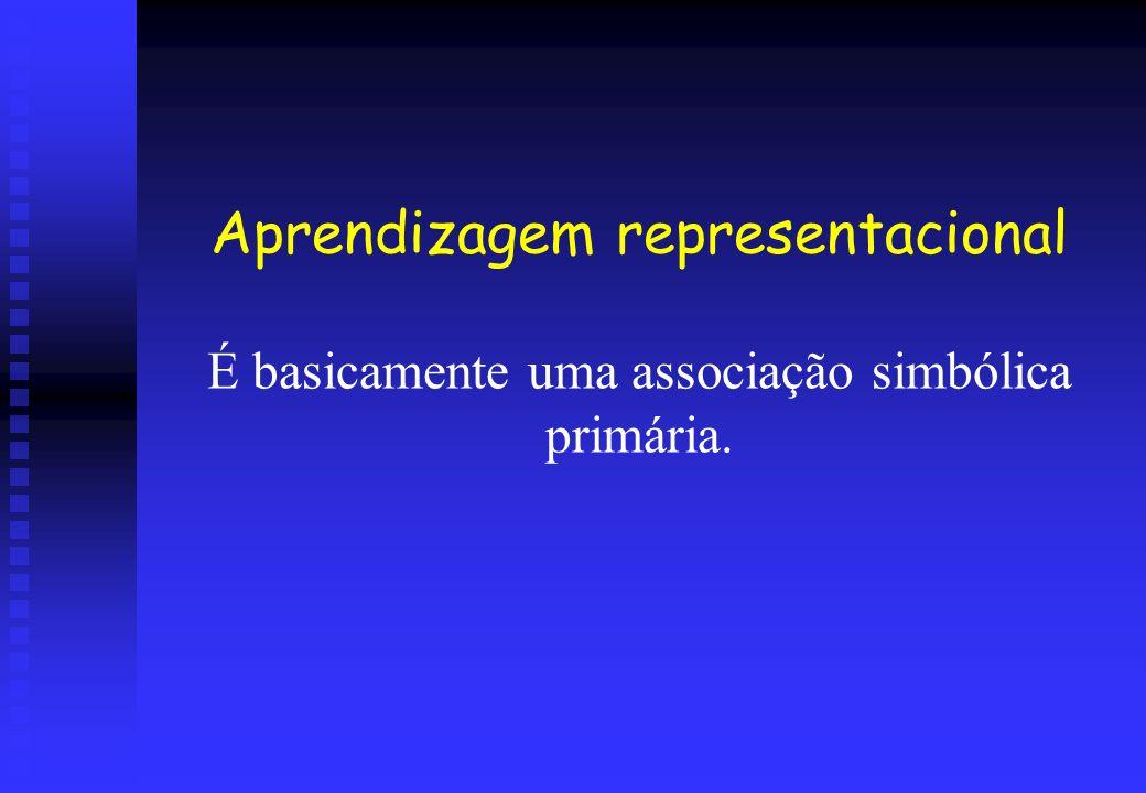 Aprendizagem representacional É basicamente uma associação simbólica primária.