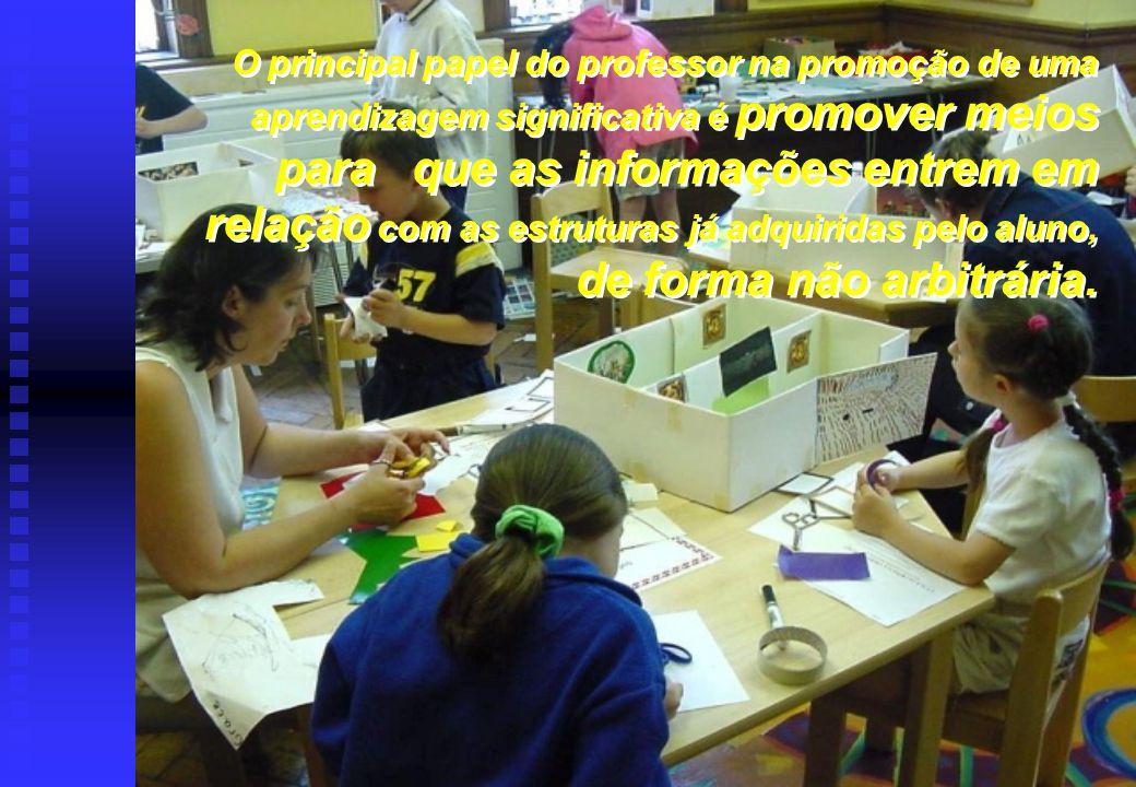 O principal papel do professor na promoção de uma aprendizagem significativa é promover meios para que as informações entrem em relação com as estrutu
