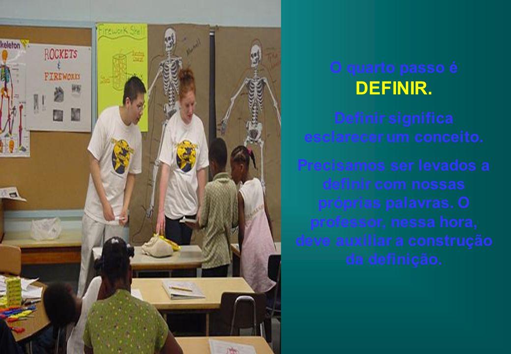 O quarto passo é DEFINIR. Definir significa esclarecer um conceito. Precisamos ser levados a definir com nossas próprias palavras. O professor, nessa