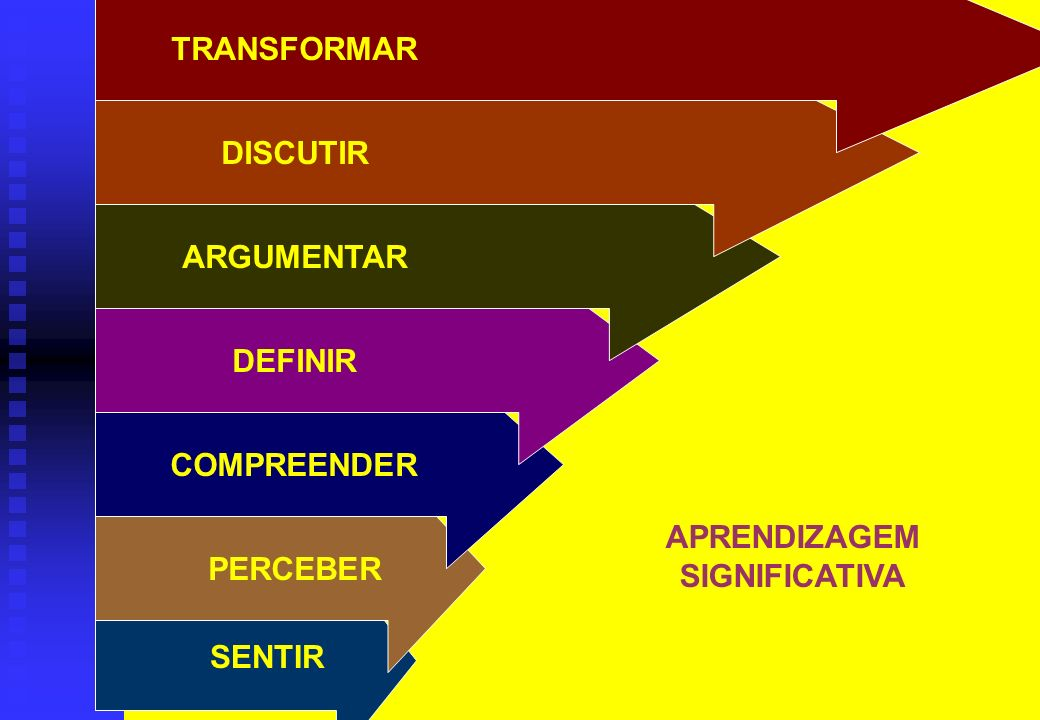 SENTIR PERCEBER COMPREENDER DEFINIR ARGUMENTAR DISCUTIR TRANSFORMAR APRENDIZAGEM SIGNIFICATIVA