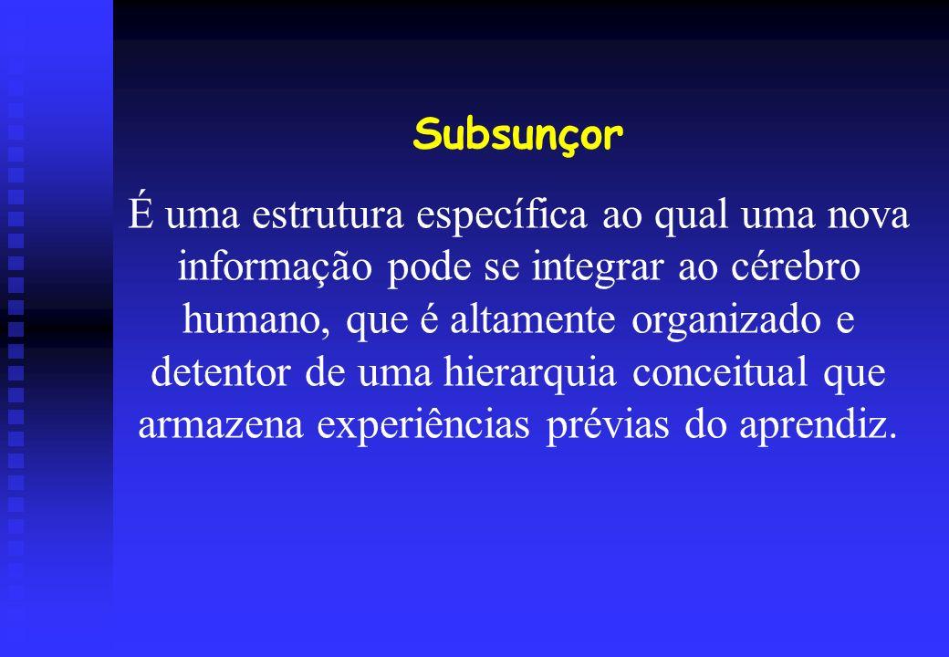 Subsunçor É uma estrutura específica ao qual uma nova informação pode se integrar ao cérebro humano, que é altamente organizado e detentor de uma hier