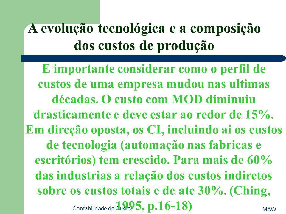 MAW Contabilidade de Custos A evolução tecnológica e a composição dos custos de produção E importante considerar como o perfil de custos de uma empresa mudou nas ultimas décadas.