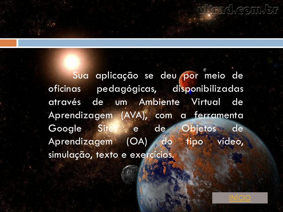 Sua aplicação se deu por meio de oficinas pedagógicas, disponibilizadas através de um Ambiente Virtual de Aprendizagem (AVA), com a ferramenta Google