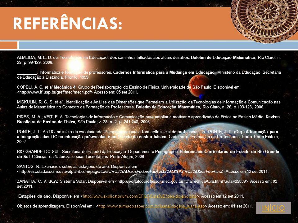 REFERÊNCIAS: ALMEIDA, M. E. B. de. Tecnologias na Educação: dos caminhos trilhados aos atuais desafios. Boletim de Educação Matemática, Rio Claro, n.