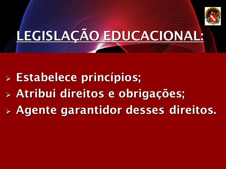 LEGISLAÇÃO EDUCACIONAL: Estabelece princípios; Estabelece princípios; Atribui direitos e obrigações; Atribui direitos e obrigações; Agente garantidor