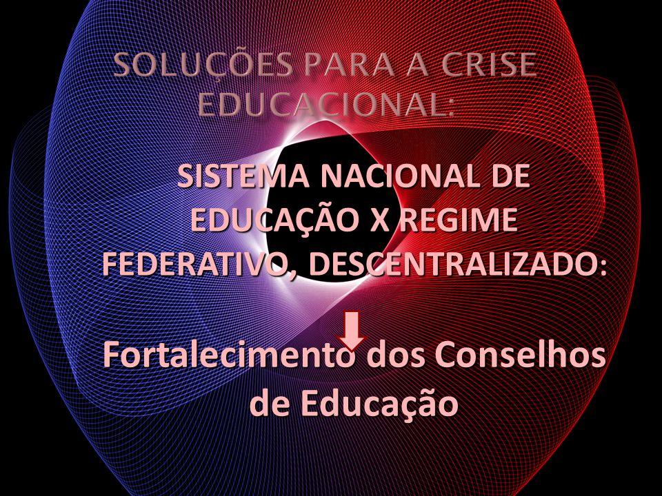 SISTEMA NACIONAL DE EDUCAÇÃO X REGIME FEDERATIVO, DESCENTRALIZADO : Fortalecimento dos Conselhos de Educação