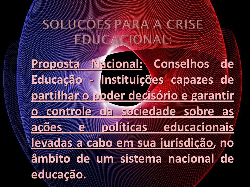 Proposta Nacional: Conselhos de Educação - Instituições capazes de partilhar o poder decisório e garantir o controle da sociedade sobre as ações e pol