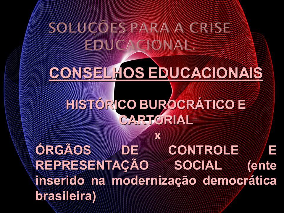CONSELHOS EDUCACIONAIS HISTÓRICO BUROCRÁTICO E CARTORIAL x ÓRGÃOS DE CONTROLE E REPRESENTAÇÃO SOCIAL (ente inserido na modernização democrática brasil