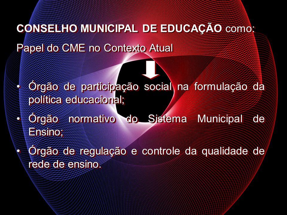 CONSELHO MUNICIPAL DE EDUCAÇÃO como: Papel do CME no Contexto Atual Órgão de participação social na formulação da política educacional;Órgão de partic