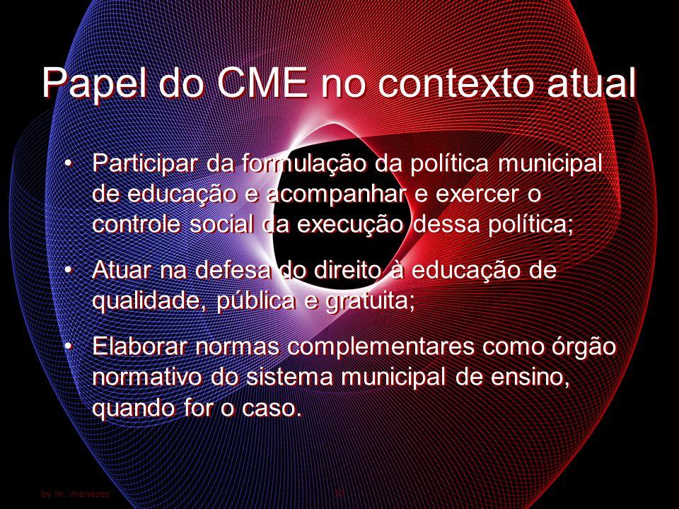 by m. menezes37 Papel do CME no contexto atual Participar da formulação da política municipal de educação e acompanhar e exercer o controle social da