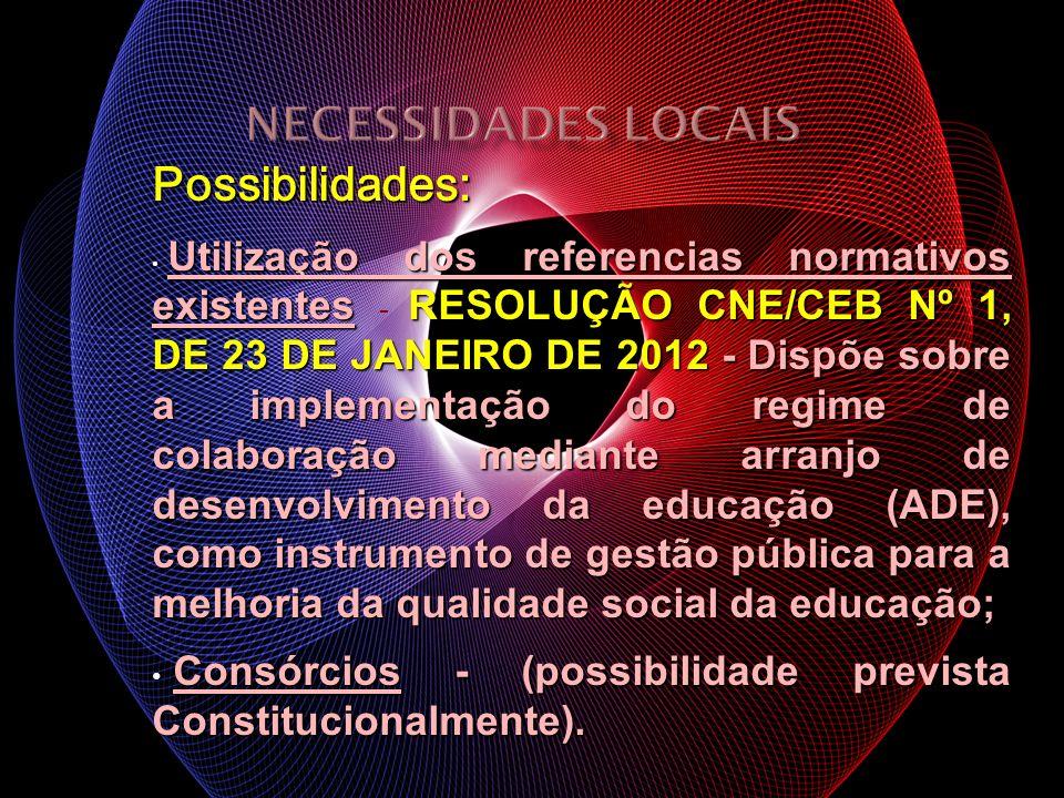 Possibilidades: Utilização dos referencias normativos existentes RESOLUÇÃO CNE/CEB Nº 1, DE 23 DE JANEIRO DE 2012 - Dispõe sobre a implementação do re