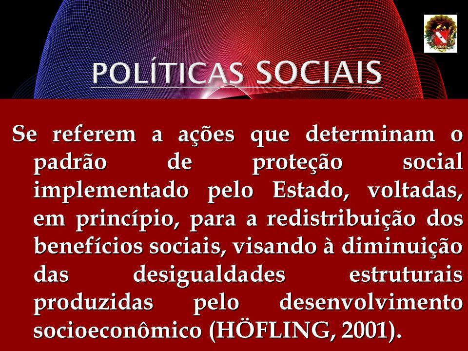 Se referem a ações que determinam o padrão de proteção social implementado pelo Estado, voltadas, em princípio, para a redistribuição dos benefícios s