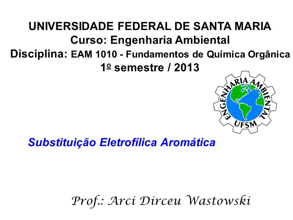 Prof.: Arci Dirceu Wastowski UNIVERSIDADE FEDERAL DE SANTA MARIA Curso: Engenharia Ambiental Disciplina: EAM 1010 - Fundamentos de Química Orgânica 1