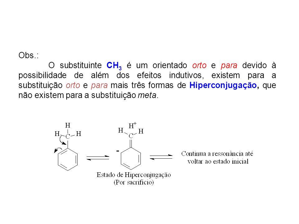 Obs.: O substituinte CH 3 é um orientado orto e para devido à possibilidade de além dos efeitos indutivos, existem para a substituição orto e para mai