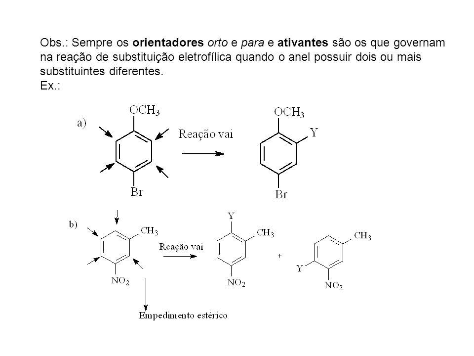 Obs.: Sempre os orientadores orto e para e ativantes são os que governam na reação de substituição eletrofílica quando o anel possuir dois ou mais sub