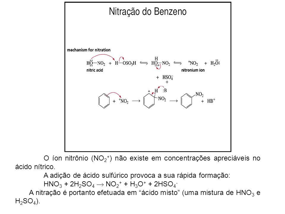 O íon nitrônio (NO 2 + ) não existe em concentrações apreciáveis no ácido nítrico. A adição de ácido sulfúrico provoca a sua rápida formação: HNO 3 +