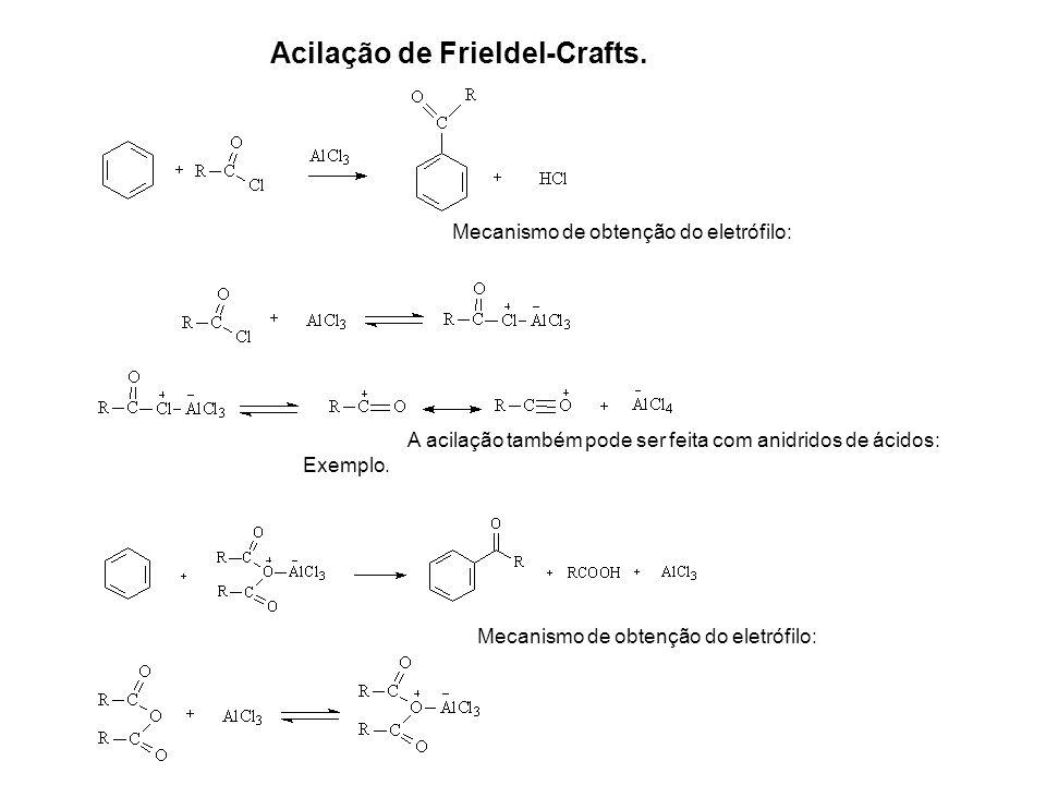 Acilação de Frieldel-Crafts. Mecanismo de obtenção do eletrófilo: A acilação também pode ser feita com anidridos de ácidos: Exemplo. Mecanismo de obte