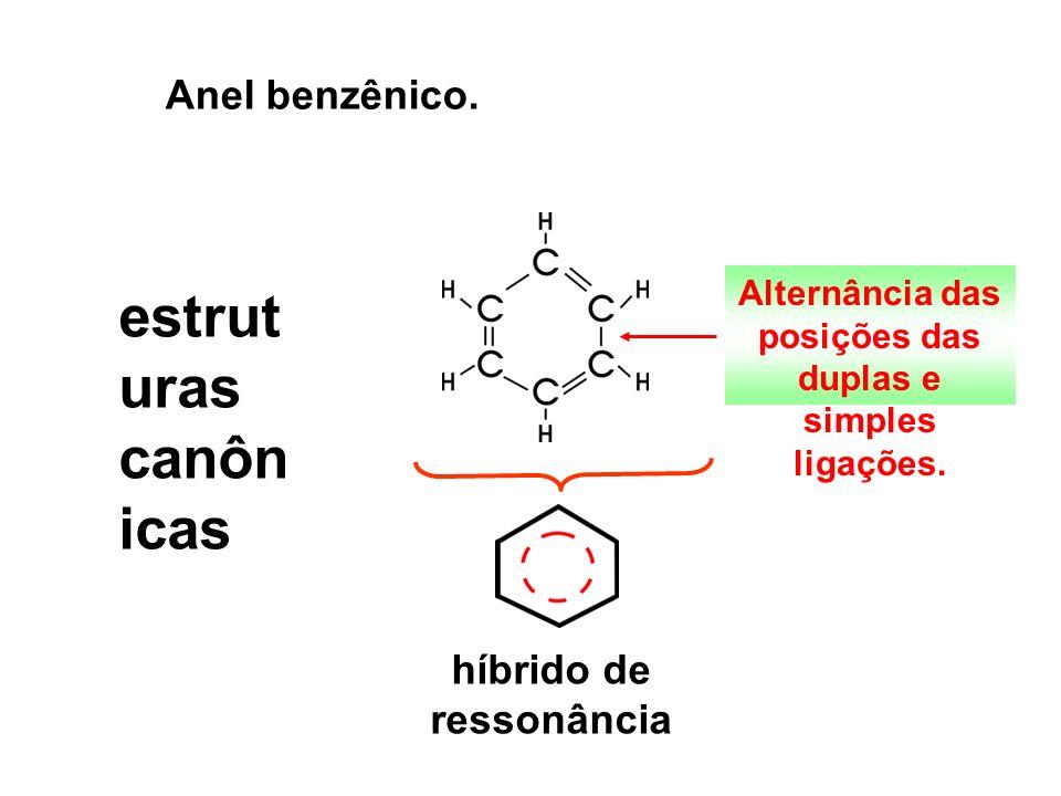 Anel benzênico. estrut uras canôn icas híbrido de ressonância Alternância das posições das duplas e simples ligações.
