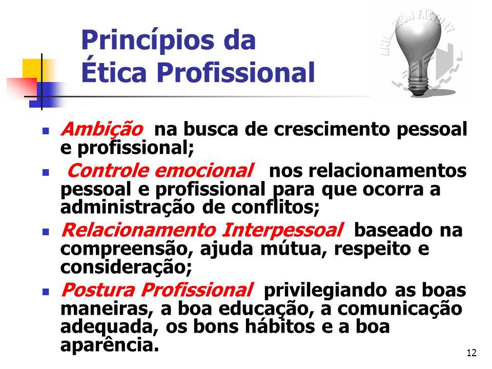 12 Princípios da Ética Profissional Ambição na busca de crescimento pessoal e profissional; Controle emocional nos relacionamentos pessoal e profissio