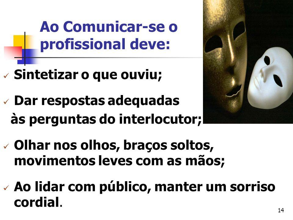 14 Ao Comunicar-se o profissional deve: Sintetizar o que ouviu; Dar respostas adequadas às perguntas do interlocutor; Olhar nos olhos, braços soltos,