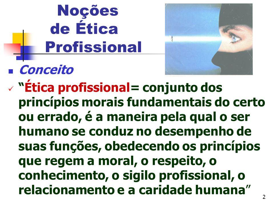 2 Noções de Ética Profissional Conceito Ética profissional= conjunto dos princípios morais fundamentais do certo ou errado, é a maneira pela qual o se