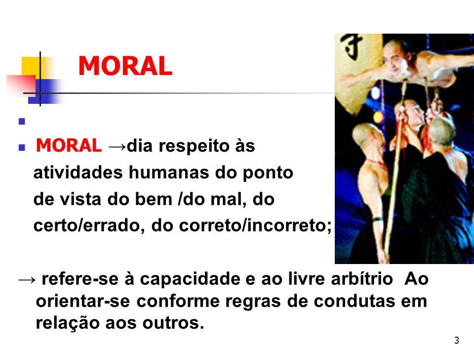 3 MORAL Conceito: MORAL dia respeito às atividades humanas do ponto de vista do bem /do mal, do certo/errado, do correto/incorreto; refere-se à capaci