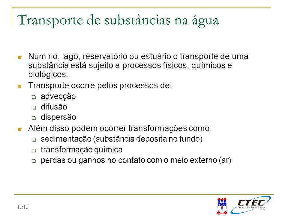 11:11 Transporte de substâncias na água Num rio, lago, reservatório ou estuário o transporte de uma substância está sujeito a processos físicos, quími