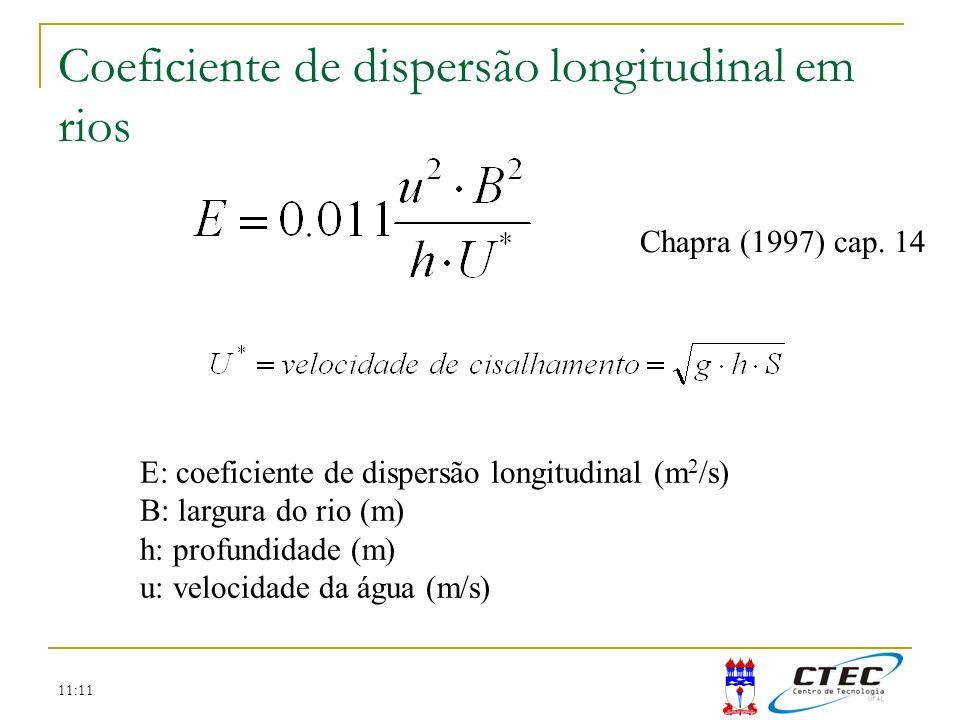 11:11 Coeficiente de dispersão longitudinal em rios E: coeficiente de dispersão longitudinal (m 2 /s) B: largura do rio (m) h: profundidade (m) u: vel