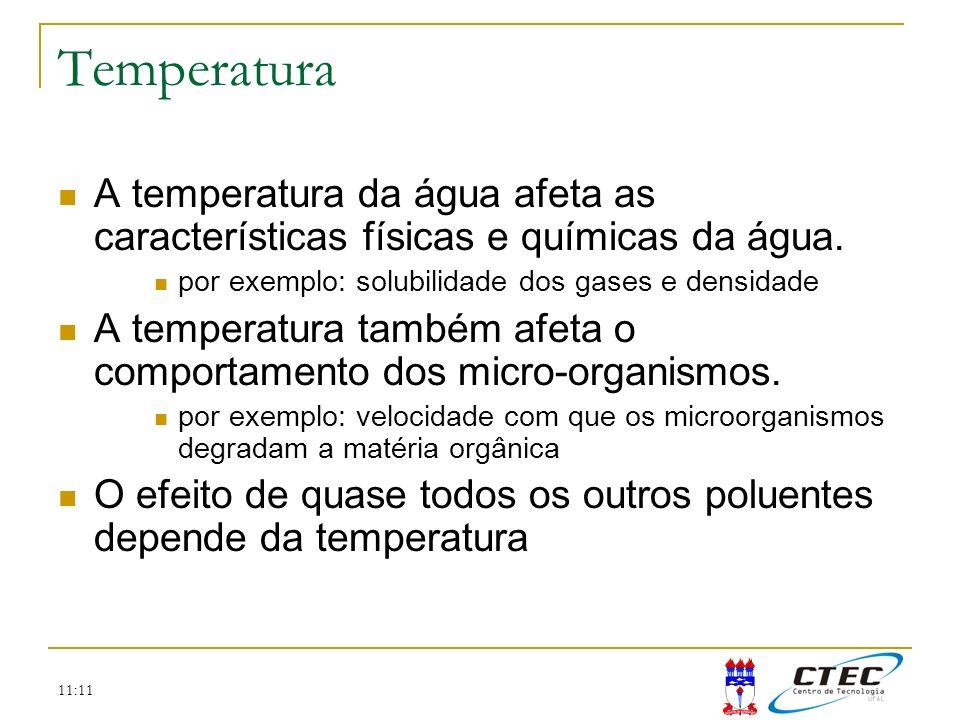 11:11 Temperatura A temperatura da água afeta as características físicas e químicas da água. por exemplo: solubilidade dos gases e densidade A tempera