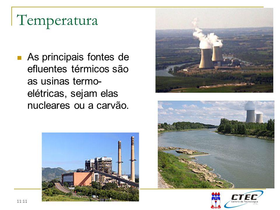 11:11 Temperatura As principais fontes de efluentes térmicos são as usinas termo- elétricas, sejam elas nucleares ou a carvão.