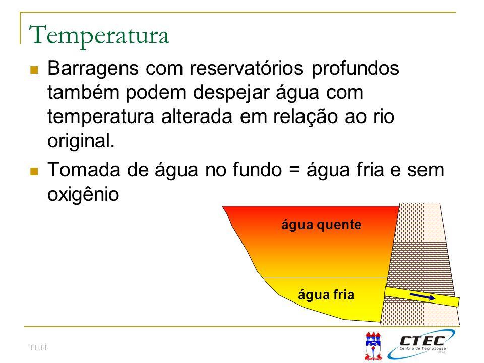 11:11 Temperatura Barragens com reservatórios profundos também podem despejar água com temperatura alterada em relação ao rio original. Tomada de água