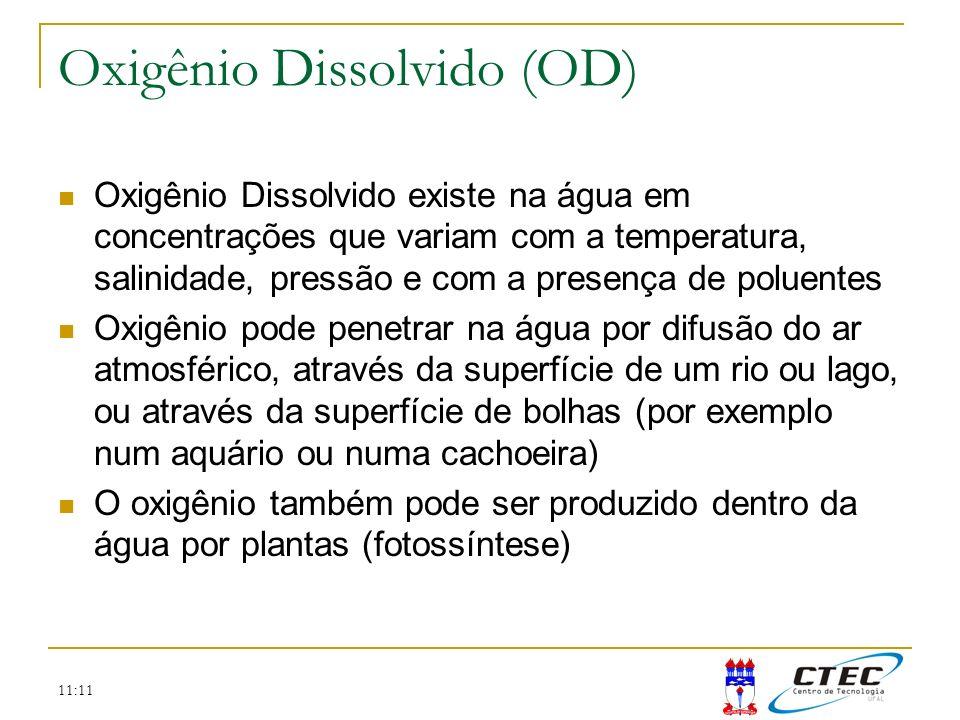 11:11 Oxigênio Dissolvido (OD) Oxigênio Dissolvido existe na água em concentrações que variam com a temperatura, salinidade, pressão e com a presença