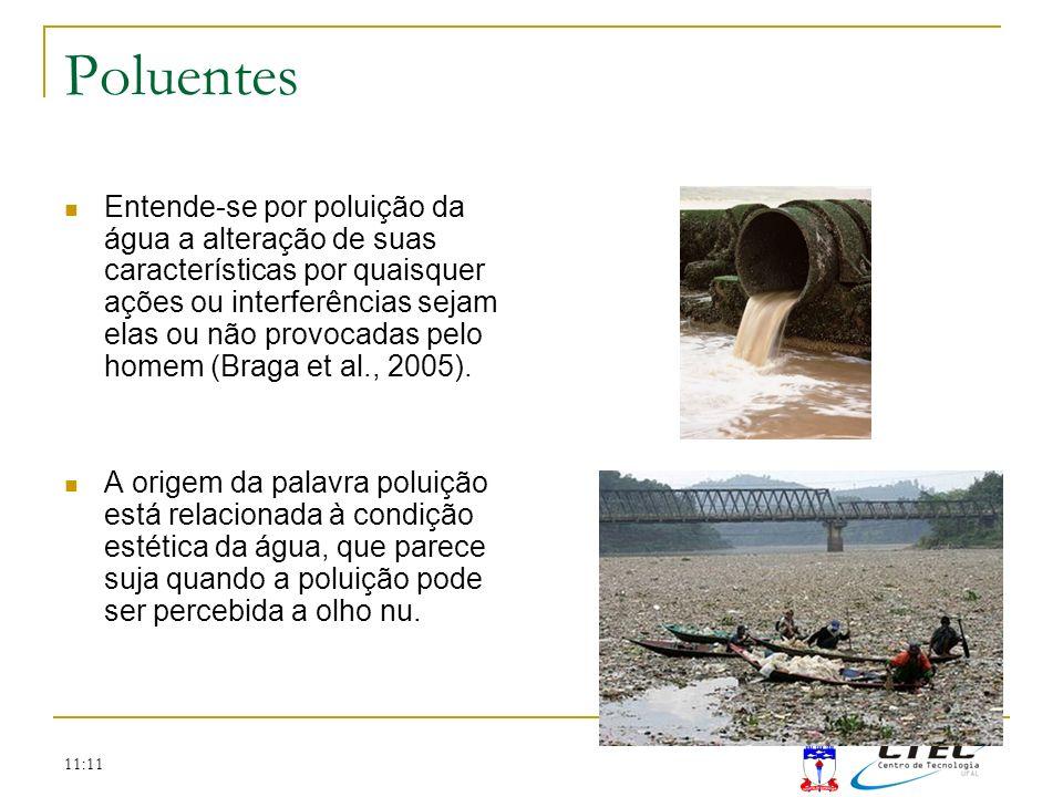11:11 Poluentes Entende-se por poluição da água a alteração de suas características por quaisquer ações ou interferências sejam elas ou não provocadas