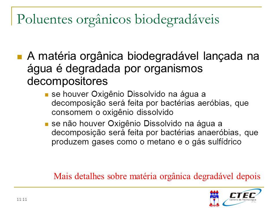 11:11 Poluentes orgânicos biodegradáveis A matéria orgânica biodegradável lançada na água é degradada por organismos decompositores se houver Oxigênio