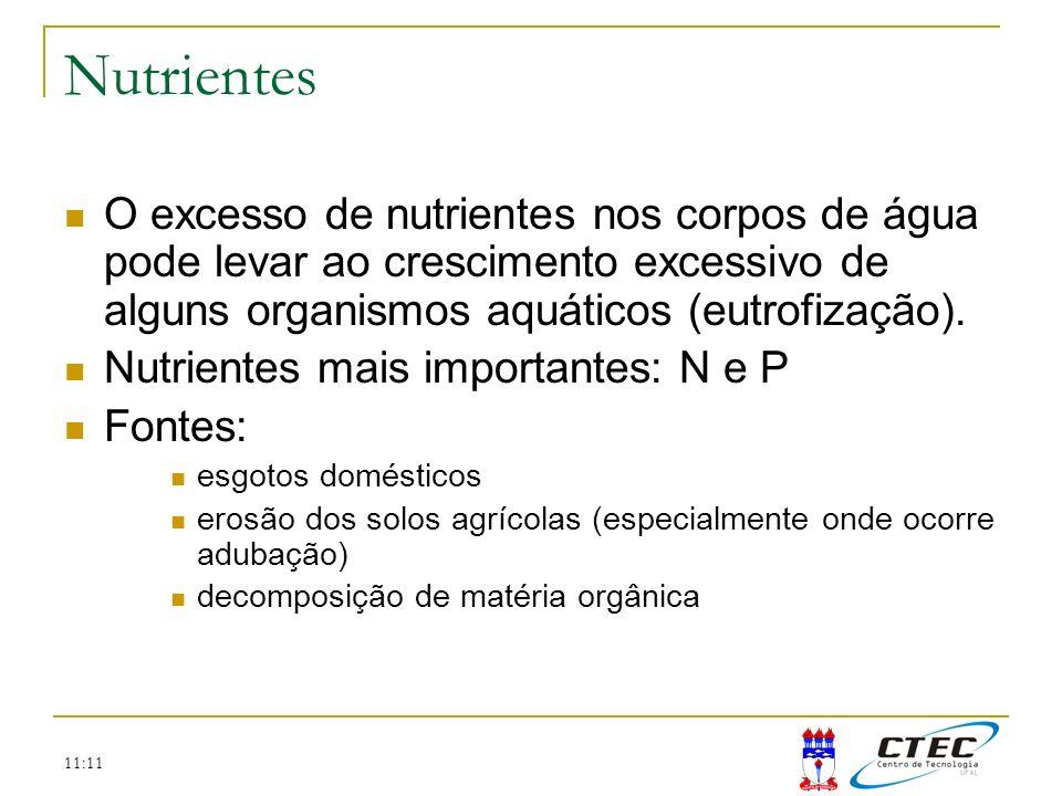 11:11 Nutrientes O excesso de nutrientes nos corpos de água pode levar ao crescimento excessivo de alguns organismos aquáticos (eutrofização). Nutrien