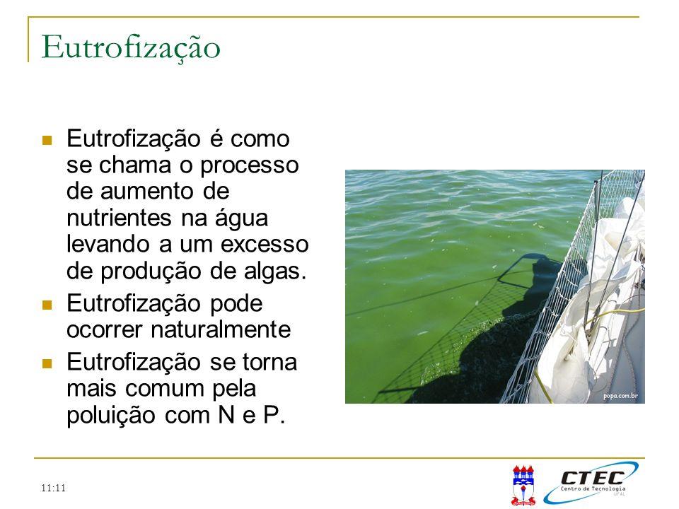 11:11 Eutrofização Eutrofização é como se chama o processo de aumento de nutrientes na água levando a um excesso de produção de algas. Eutrofização po