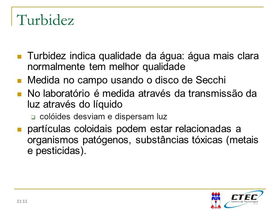 11:11 Turbidez Turbidez indica qualidade da água: água mais clara normalmente tem melhor qualidade Medida no campo usando o disco de Secchi No laborat