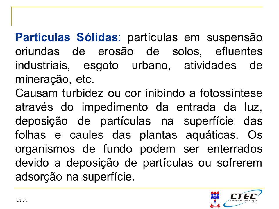 11:11 Partículas Sólidas: partículas em suspensão oriundas de erosão de solos, efluentes industriais, esgoto urbano, atividades de mineração, etc. Cau