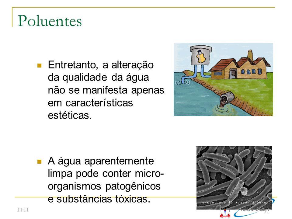 11:11 Poluentes Entretanto, a alteração da qualidade da água não se manifesta apenas em características estéticas. A água aparentemente limpa pode con