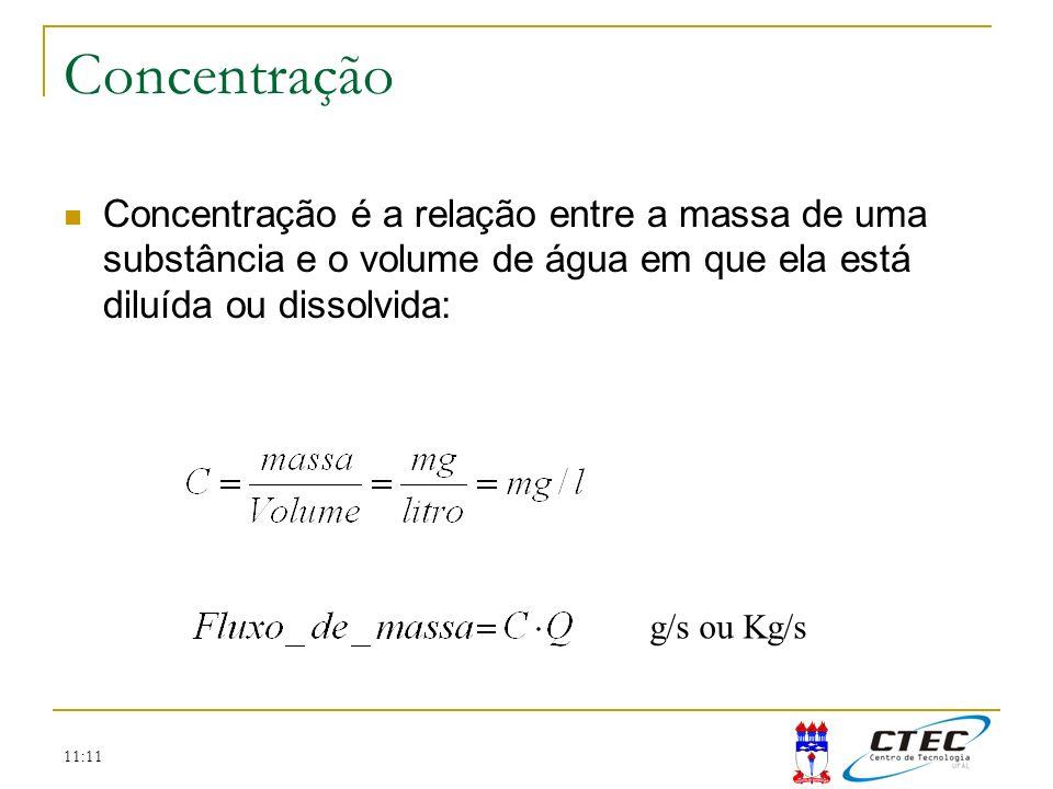 11:11 Concentração Concentração é a relação entre a massa de uma substância e o volume de água em que ela está diluída ou dissolvida: g/s ou Kg/s