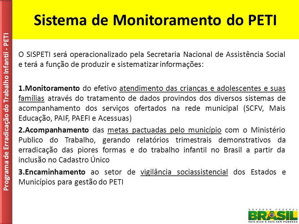 Sistema de Monitoramento do PETI O SISPETI será operacionalizado pela Secretaria Nacional de Assistência Social e terá a função de produzir e sistemat