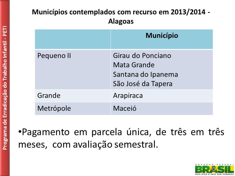 Municípios contemplados com recurso em 2013/2014 - Alagoas Programa de Erradicação do Trabalho Infantil - PETI Pagamento em parcela única, de três em