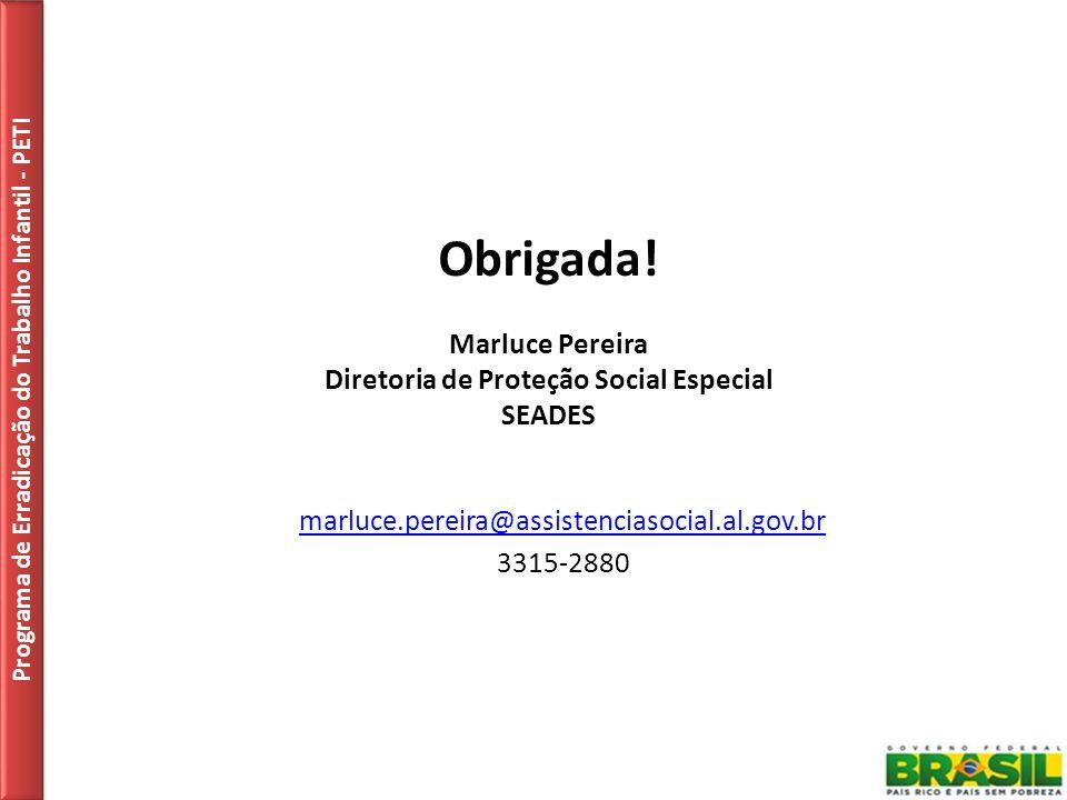 Obrigada! Marluce Pereira Diretoria de Proteção Social Especial SEADES Programa de Erradicação do Trabalho Infantil - PETI marluce.pereira@assistencia