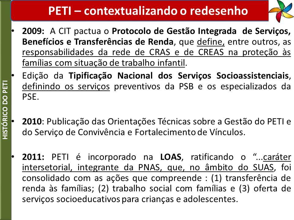 2009: A CIT pactua o Protocolo de Gestão Integrada de Serviços, Benefícios e Transferências de Renda, que define, entre outros, as responsabilidades d
