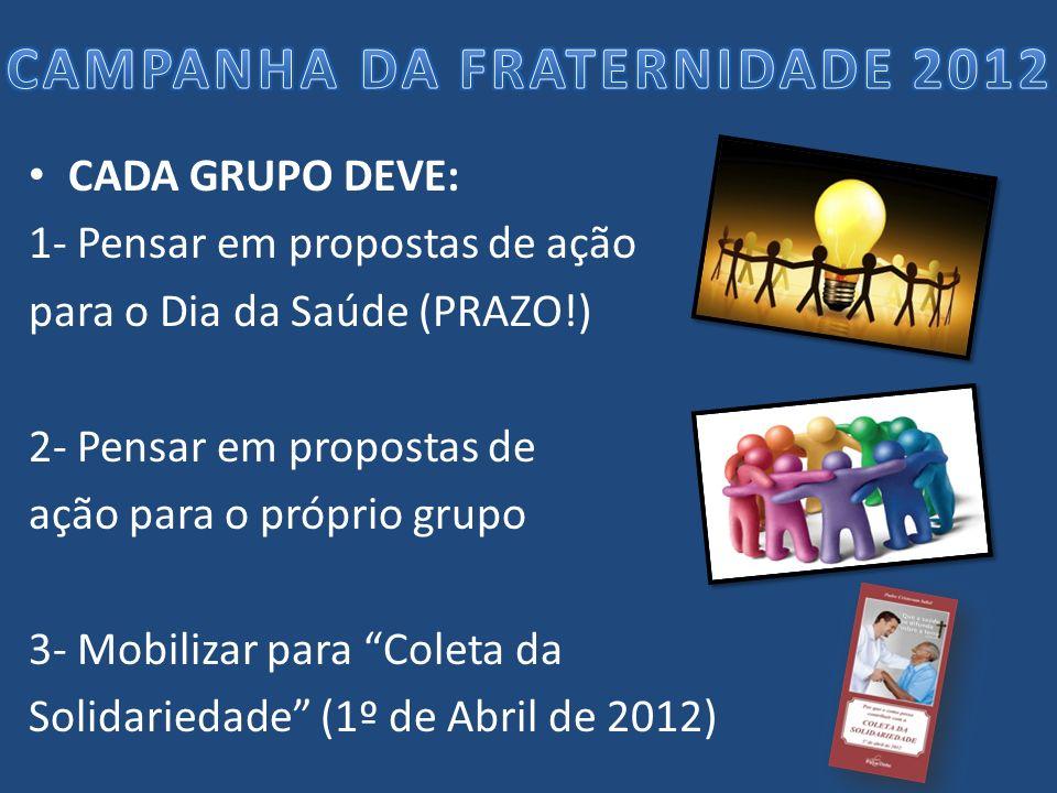 CADA GRUPO DEVE: 1- Pensar em propostas de ação para o Dia da Saúde (PRAZO!) 2- Pensar em propostas de ação para o próprio grupo 3- Mobilizar para Col