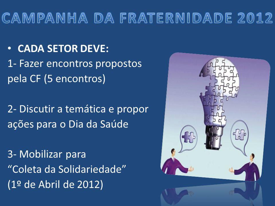 CADA SETOR DEVE: 1- Fazer encontros propostos pela CF (5 encontros) 2- Discutir a temática e propor ações para o Dia da Saúde 3- Mobilizar para Coleta