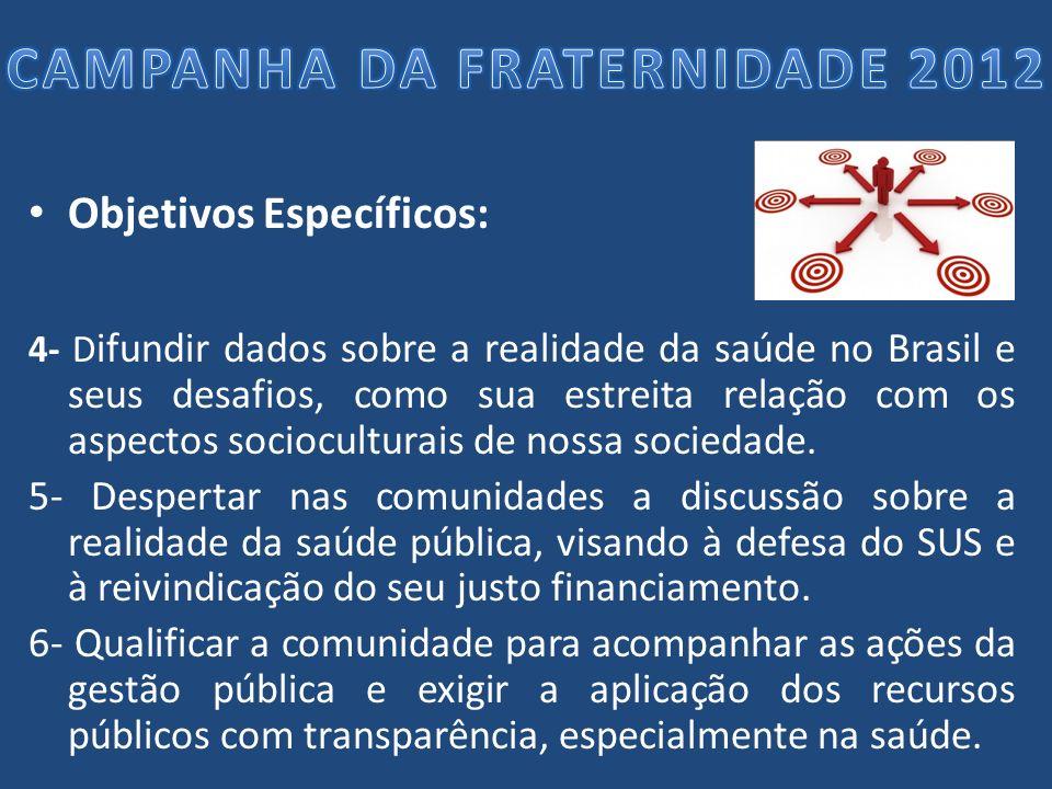 Objetivos Específicos: 4- D ifundir dados sobre a realidade da saúde no Brasil e seus desafios, como sua estreita relação com os aspectos sociocultura