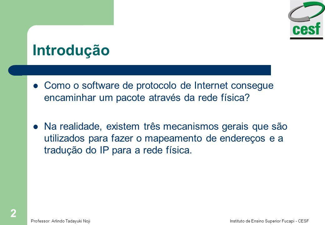 Professor: Arlindo Tadayuki Noji Instituto de Ensino Superior Fucapi - CESF 2 Introdução Como o software de protocolo de Internet consegue encaminhar